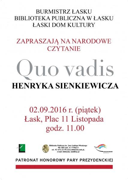 Zaproszenie Na Narodowe Czytanie łaskonlinepl Codzienna Gazeta